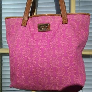 Michael Kors Pink Canvas Tote/Handbag